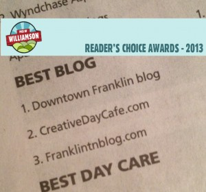 I was thrilled to be voted 3rd best Blog in Williamson County. Thanks!